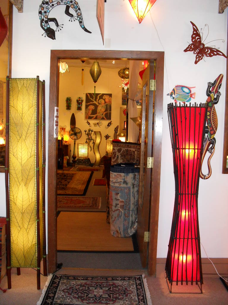 Ala kalika rugs and lamps enter the doorway to an exotic paradise eangee 6ft fortune floor lamp on the left made with cocoa leaves audiocablefo